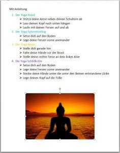 Schülerarbeit: Yoga Anleitung Textgestaltung und Einfügen eines Bildes